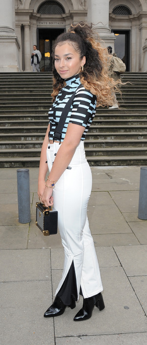 Singer Ella Eyre goes for the nautical look at Topshop Unique show, London Fashion Week, London 22nd February 2016