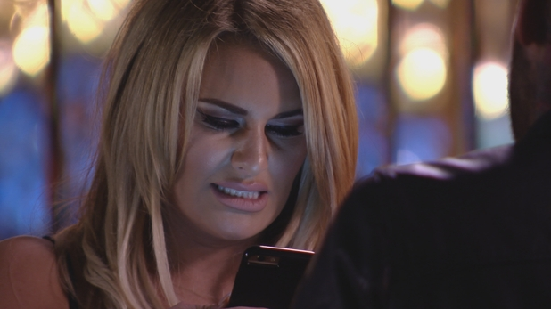 The Only Way Is Essex: Danielle gets a text from Gemma. Series 17, episode 1. 28 February 2016.