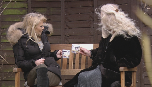 The Only Way Is Essex: Carol and Debbie toast bench in tribute to Nanny Pat. Series 17, episode 1. 28 February 2016.