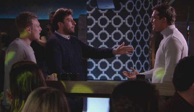 The Only Way Is Essex: Lewis, Tommy and Arg argue. Series 17, episode 1. 28 February 2016.