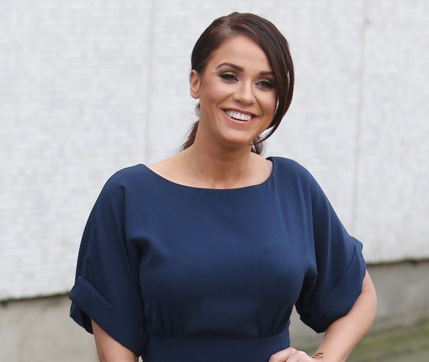 Geordie Shore's Vicky Pattison outside ITV Studios in London wearing navy jumpsuit, London, 23rd February 2016
