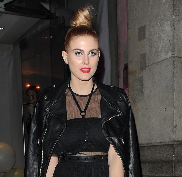 Ashley James attends Fashion Fund Fair, wears hair in high bun, London, 22nd February 2016