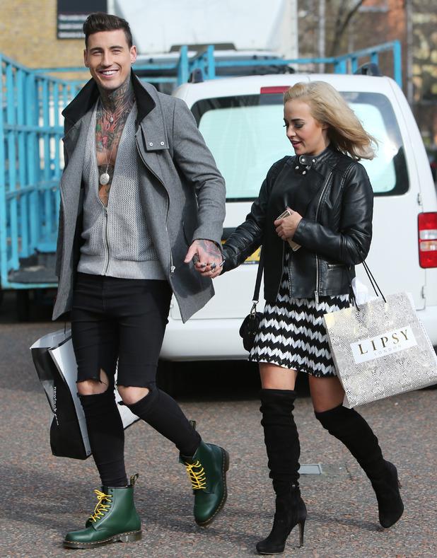 Stephanie Davis and Jeremy McConnell outside ITV studios. 26 February 2016.