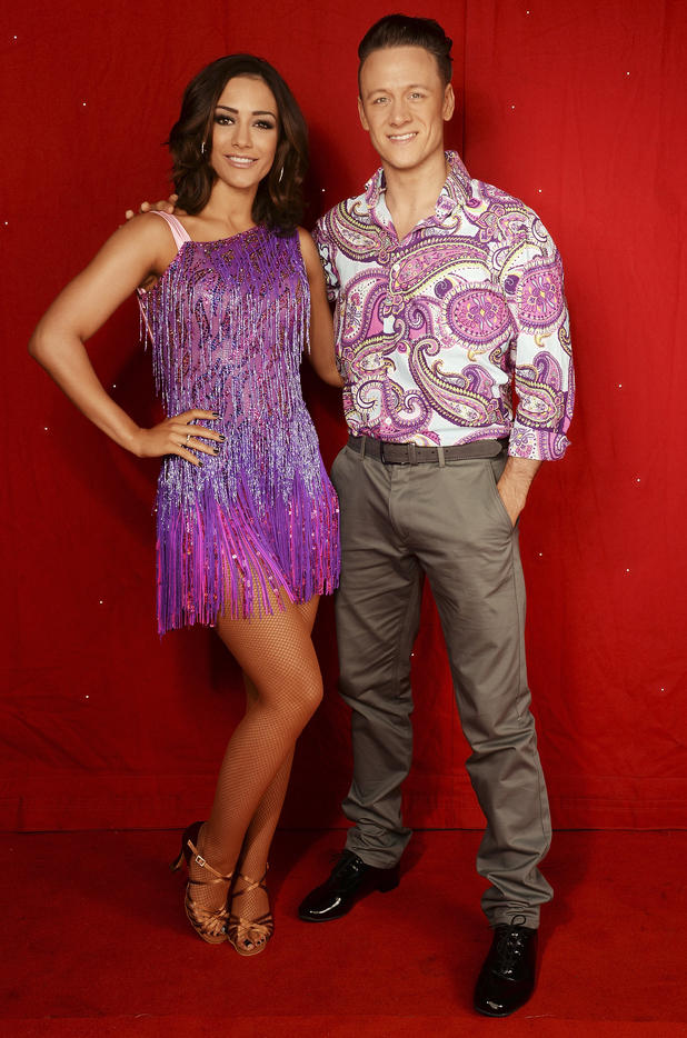 Frankie Bridge (L) and Kevin Clifton backstage at the Strictly Come Dancing Live Tour rehearsals, Strictly Come Dancing Live Tour opens tomorrow, 22nd January at the Barclaycard Arena in Birmingham and then tours the UK until 14th February, at Barclaycard Arena on January 21, 2016 in Birmingham, England.