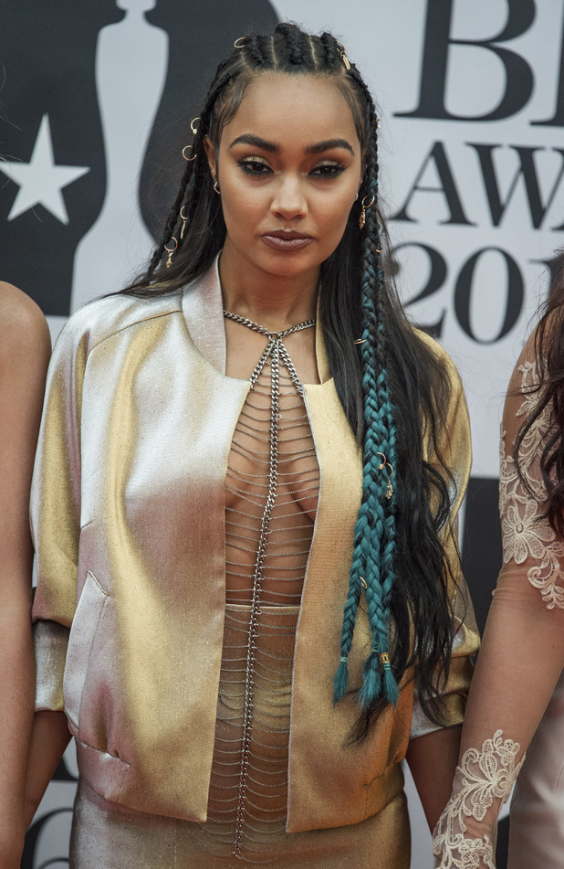 Little Mix star Leigh-Anne Pinnock wears one of her own designs to BRIT Awards, London, 02 Arena, 25th February 2016