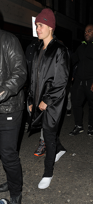 Justin Bieber attends a party at Tape nightclub in Mayfair, following the Brit Awards 24 February 2016