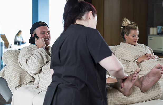 The Only Way is Essex' cast filming, Gran Canaria, Spain - 18 Feb 2016 Tommy Mallet and Georgia Kousoulou take a visit to the spa and Tommy takes a call from James Argent back in the UK.