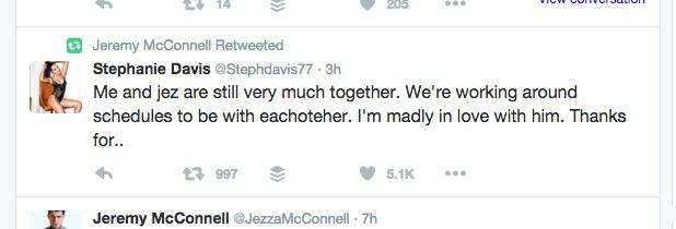Jeremy McConnell confirms reunion with Stephanie Davis, 22 February 2016