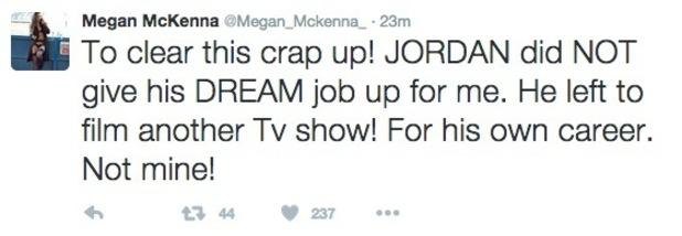 Megan McKenna responds to Jordan Davies Weekender exit on Twitter, 29 February 2016
