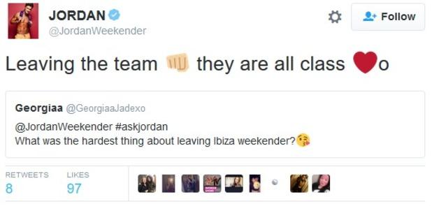 Jordan Davies does final Ibiza Weekender Twitter Q&A 28 February