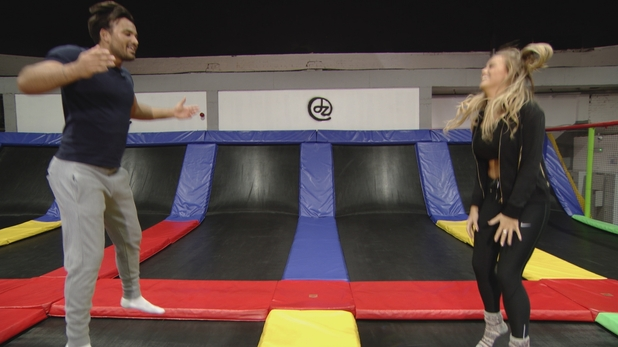 TOWIE: Mike and Chloe on trampolining date. 6 March 2016.