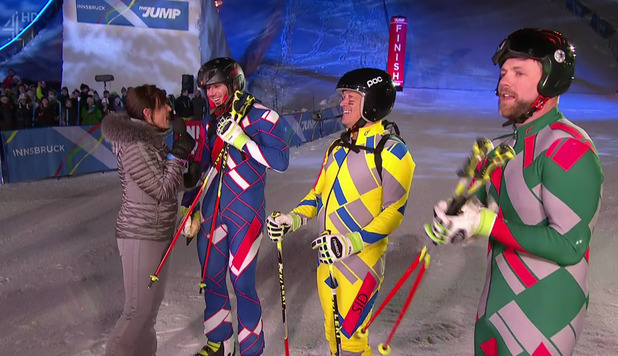 Brian McFadden, Sid Owen and Ben Cohen after competing in the Ski Cross in the semi final of 'The Jump. 28 February 2016.