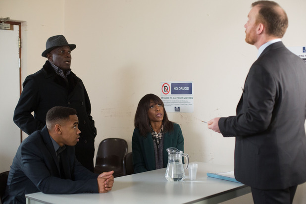EastEnders, Denise, Jordan and Patrick visit the governor, Fri 4 Mar