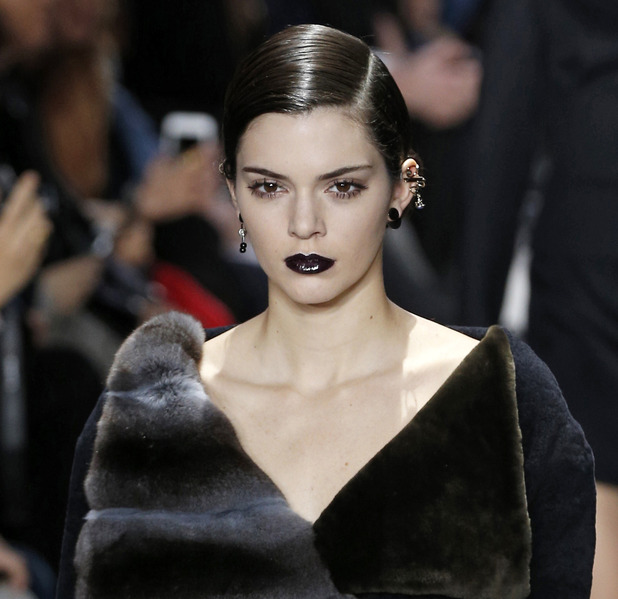 Kendall Jenner at Paris Fashion Week's Dior show wearing black lipstick, 4th March 2016
