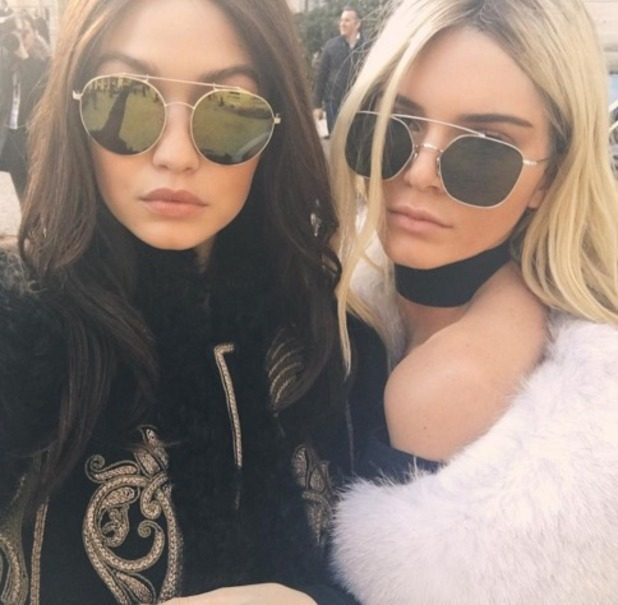 Kendall Jenner and Gigi Hadid swap hair colours for Balmain catwalk show at Paris Fashion Week, 3 March 2016