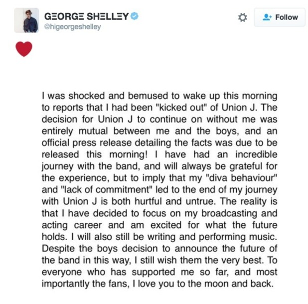 George Shelley's tweet on Union J exit 4 March