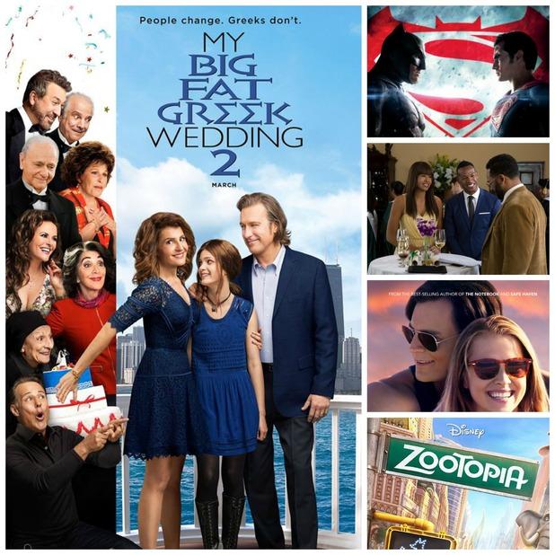 Film picks - March 2016. The Choice, Batman v Superman, Fifty Shades of Black, My Big Fat Greek Wedding 2, Zootropolis