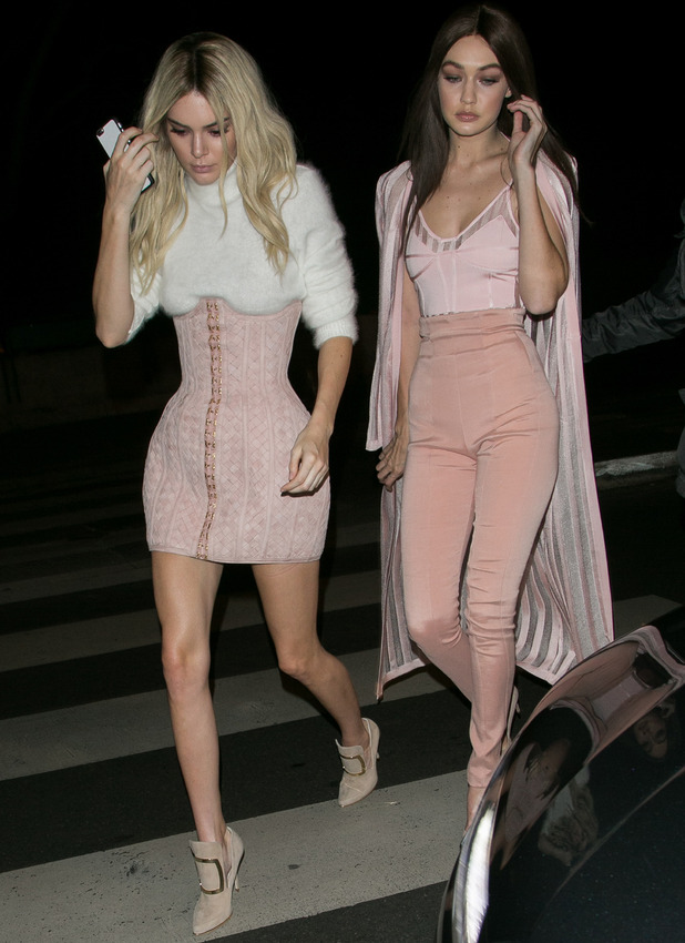 Kendall Jenner and Gigi Hadid spotted leaving Balmain's Paris Fashion Week show in Paris, France, 3rd March 2016