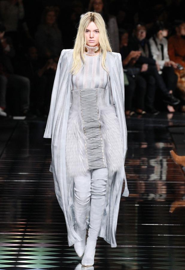 Kendall Jenner walks the Paris Fashion Week Balmain show with blonde hair, 3rd March 2016