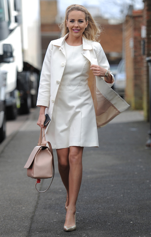 TOWIE's Lydia bright looks gorgeous in white while filming with rest of the cast in Essex, 2nd March 2016