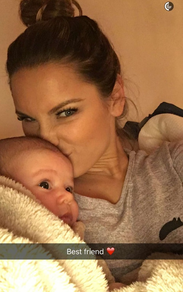Sam Faiers cosies up to her baby son Paul Tony. 29 February 2016.