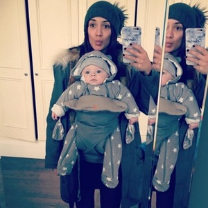 Frankie Bridge and her youngest son Carter February 2016
