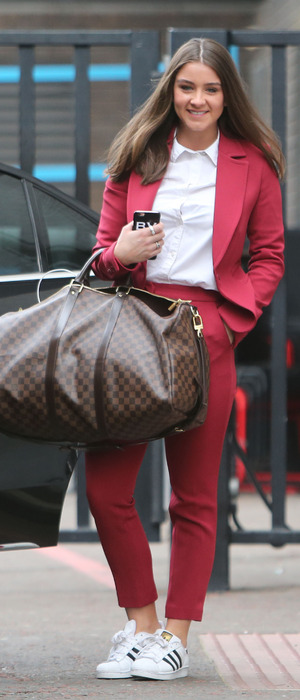 Coronation Street actress Brooke Vincent spotted outside ITV Studios in London wearing red suit, 8th March 2016