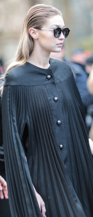 Model Gigi Hadid spotted in black smock dress on day seven of Paris Fashion Week, 7th March 2016