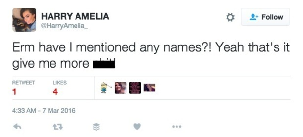 Harry Amelia tweets about Nick Henderson? 7 March