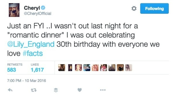 Cheryl Fernandez-Versini tweets about public appearance with Liam Payne 10 March