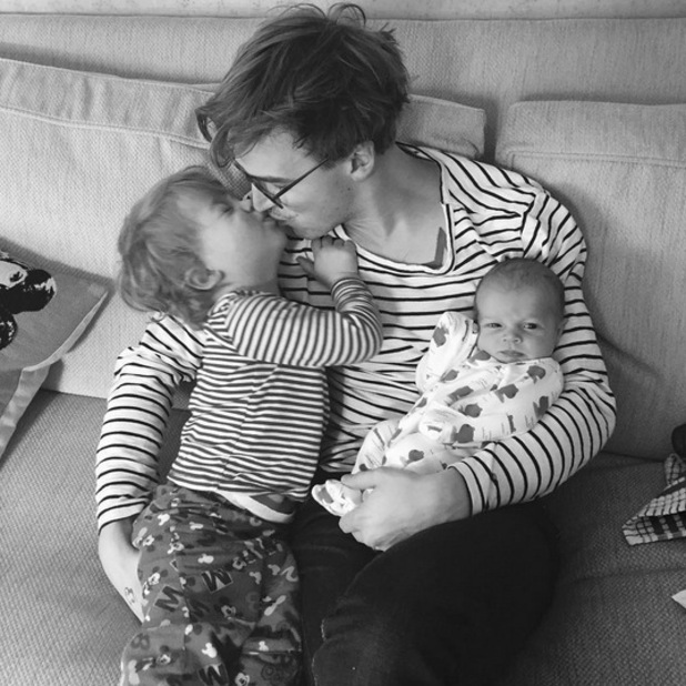 Giovanna Fletcher shares a photo of husband Tom with sons Buzz and Buddy, 7th March 2016