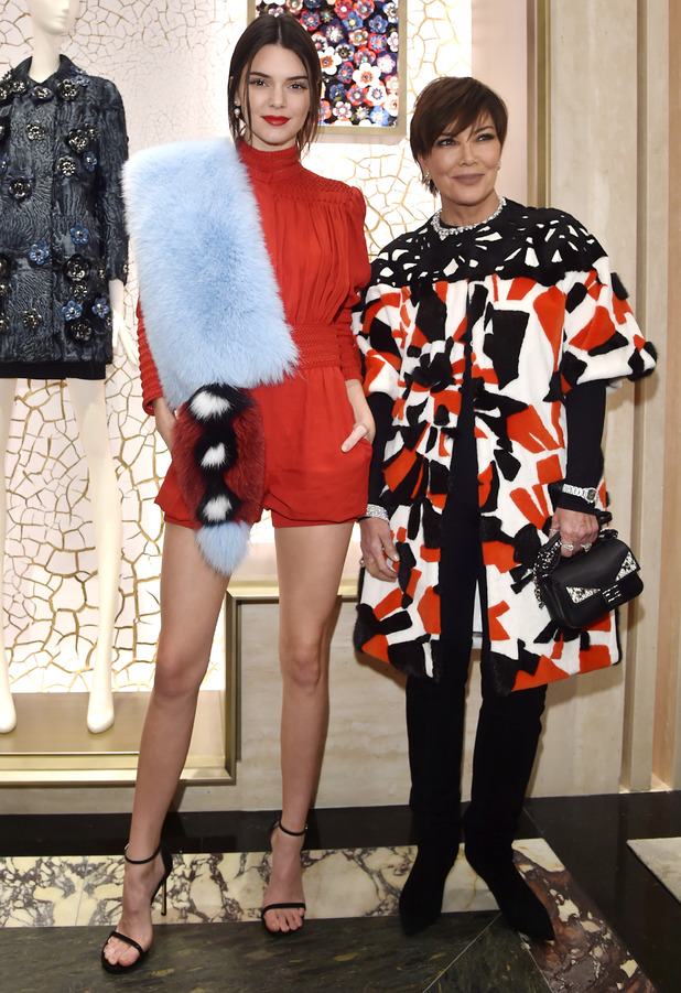 Kendall Jenner and mum Kris Jenner attend the Palazzo FENDI And ZUMA Inauguration in Italy, 10th March 2016