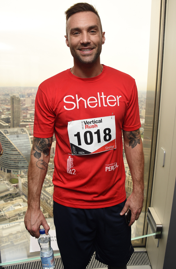 Calum Best takes part in the Shelter Vertical Rush at Tower 42 on March 8, 2016 in London, England.