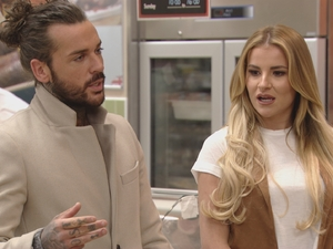 The Only Way Is Essex - Pete speaks to the girls in the supermarket. Sunday 20 March 2016.