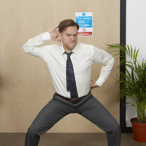 Olly Murs impersonates David Brent as he recreates the dance moves from The Office to launch the Partying with Pringles competition. 16 March 2016.
