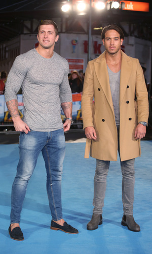 Dan Osborne and James Lock at Eddie the Eagle European Premiere held at the Odeon cinema. 18 March 2016.