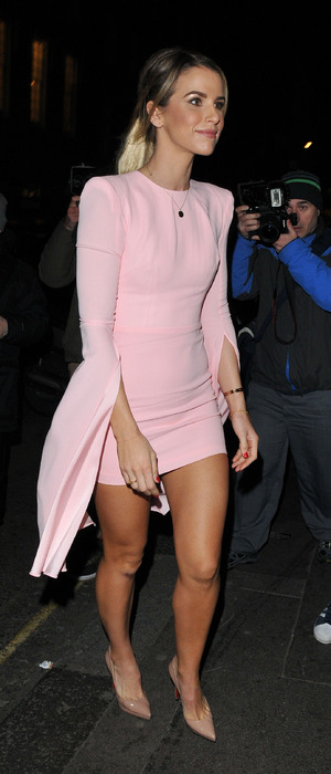 Model Vogue Williams wears pink dress to the Ba&sh launch party in London, 15th March 2016