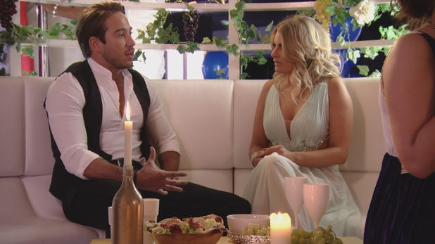 The Only Way Is Essex - Danielle and Lockie talk at the Greek party. Sunday 20 March 2016.
