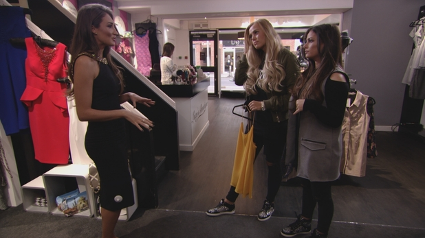 The Only Way Is Essex - Megan tries on dresses with Chloe and Courtney at Lucy's Boutique. Sunday 20 March 2016.