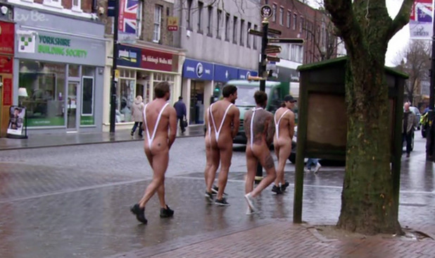 After losing the football match team Alpha are forced to wear mankinis and walk up Brentwood high street on 'The Only Way Is Essex'. 13 March 2016.