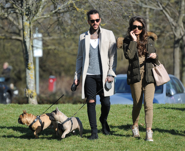Pete Wicks and Megan McKenna are pictured walking his dogs as they film scenes for TOWIE. 14 March 2016.
