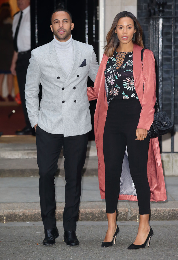 Rochelle Humes and Marvin Humes outside No.10 Downing Street in preparation for Sport Relief event with Prime Minister David Cameron, 15th March 2016