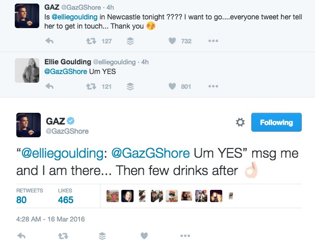 Gaz Beadle tweets Ellie Goulding for tickets to Newcastle show 16 March