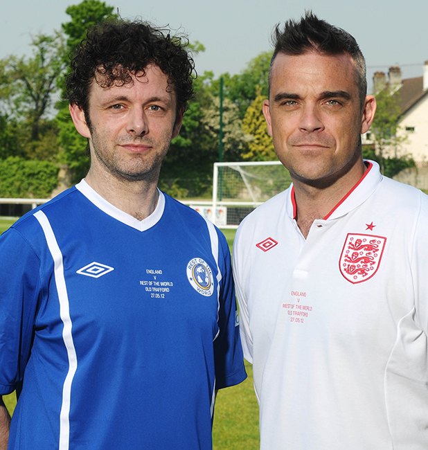 Robbie Williams and Michael Sheen for Soccer Aid 2016