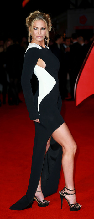 Former Girls Aloud star Sarah Harding shows off her legs as she attends the Batman V Superman premiere in London, 23rd March 2016