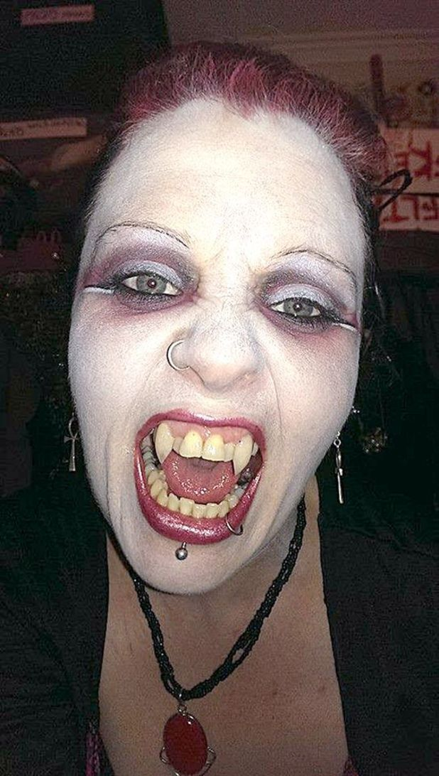 Georgina Condon with fangs
