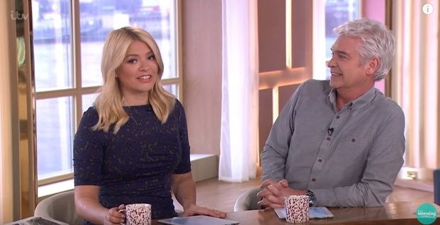 Holly Willoughby and Phillip Schofield presenting 'This Morning'. 21 March 2016.
