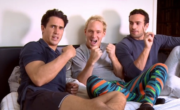 Jamie Laing films In Bed With Jamie with James Dunmore and Josh JP Patterson 22 March