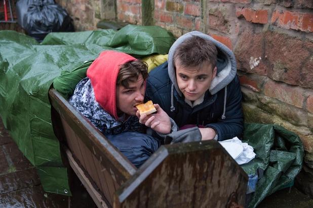 Hollyoaks, Harry and Ste sleep rough, Wed 23 Mar
