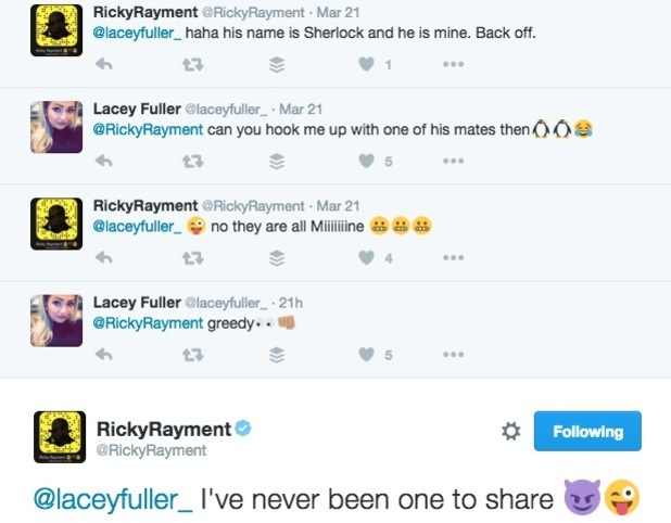 Ricky Rayment and Lacey Fuller tweets, Twitter 22 March